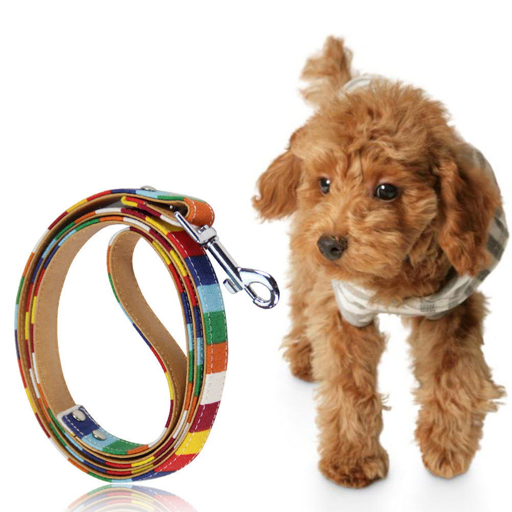 Canvas pet Dog Collar rainbow color Leather Pu Leather Colorful Plain adjustable Pet Supplies Collar size S M L