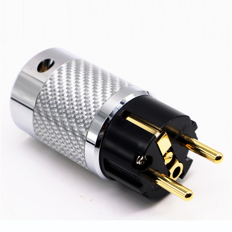 HI-End Carbon Fiber Schuko Audio Power Plug Gold Plated EU Male Connector HIFI Power plug NCF European Power Connector цена