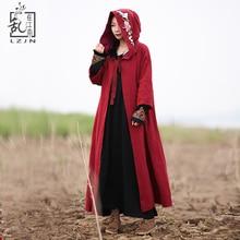 LZJN вышитое пальто для женщин длинное пальто с капюшоном плащ в китайском стиле красный кардиган черная ветровка винтажное пальто 1875