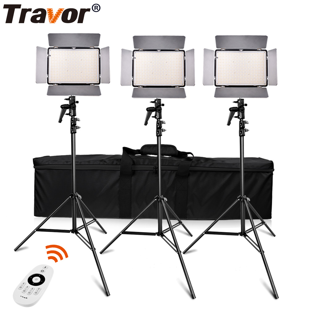 Travor TL-600A 2.4G kit Bi-Color Studio photography LED Video Light with 2.4G remote control +6pcs NP-F550 battery+4pcs Charger travor tl 600a 2 4g kit bi color led video light 3200k 5500k for photography shooting three light 6pcs battery 3 light standing