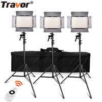 Travor TL-600A 2,4G kit bicolor estudio fotografía luz de vídeo LED con control remoto de 2,4G + batería de 6 uds NP-F550 + cargador de 4 Uds