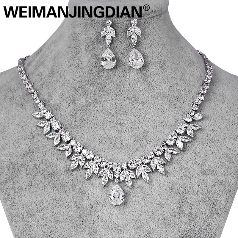 WEIMANJINGDIAN Brand Shining Cubic Zirconia Crystal Water Drop and Marquise CZ Necklace and Earring Bridal Wedding Jewelry Set autoprofi органайзер в багажник travel ковролиновый 50х13х20см чёрный 1 24