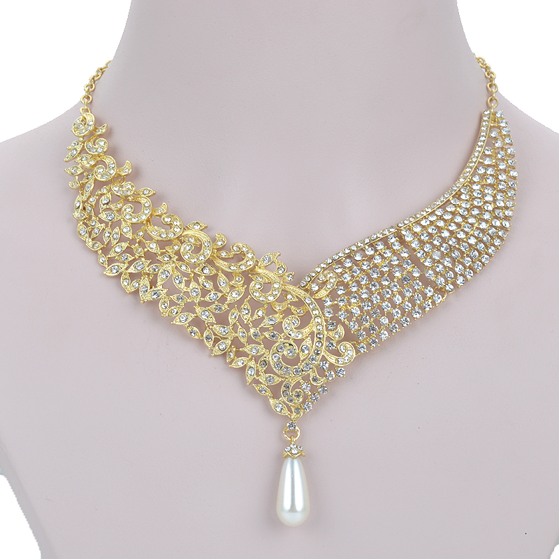 Gold Metal Plated necklace earrings Bridal Wedding jewelry sets Women Party crystal pearl fashion dress earrings set accessories 3