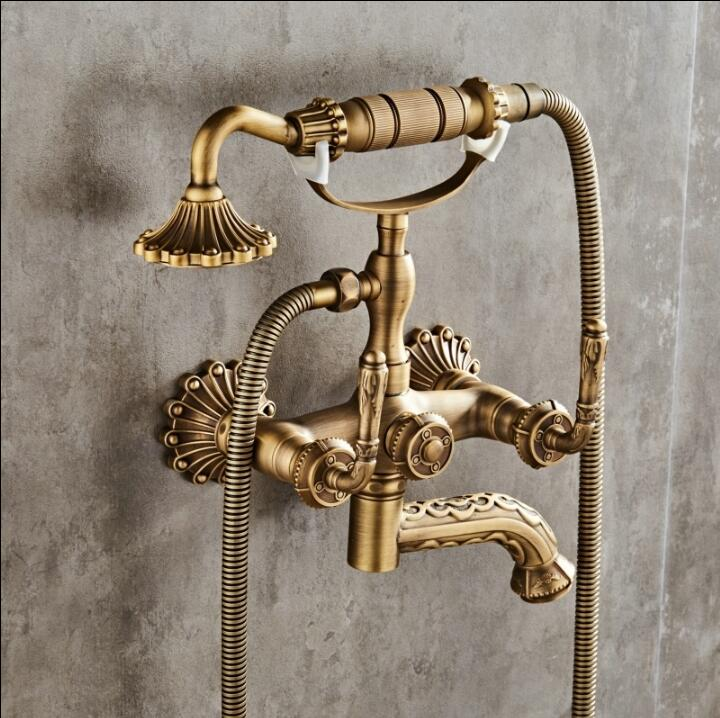 Free shipping Bathroom Faucet Wall Mounted Carving Hand Held Antique Brass Shower Head Kit Shower Faucet Sets Bathtub Faucet Set цена