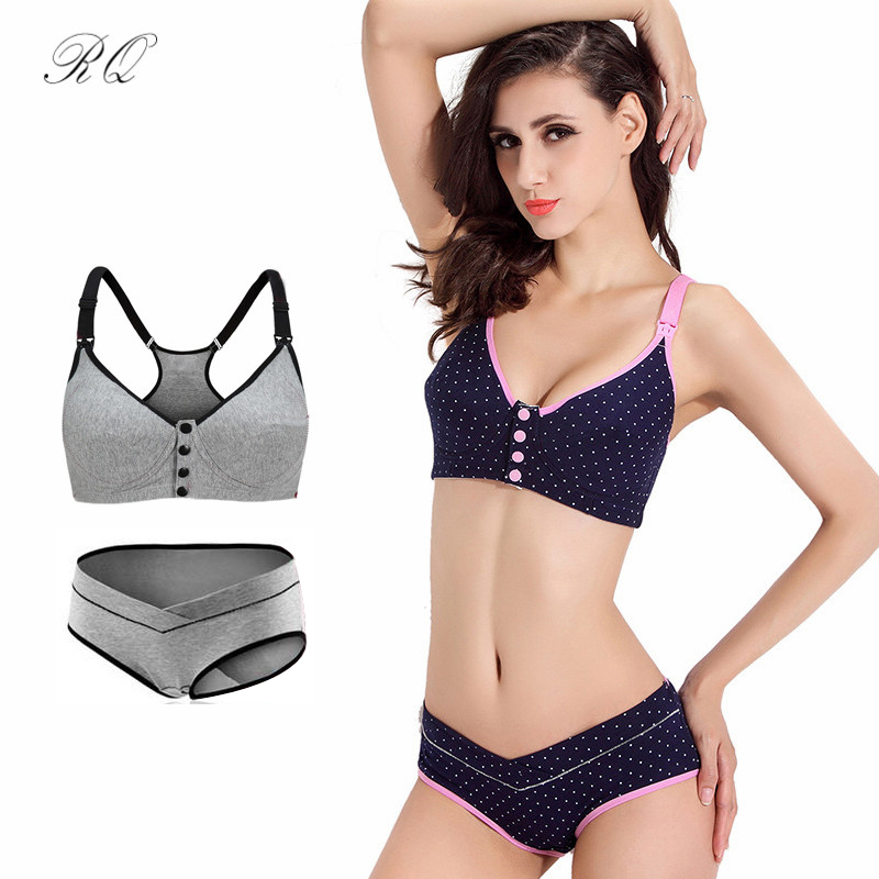 9e4ea4a27ad27 RQ Cotton Maternity Bra+panties Set Prevent Sagging Nurse Bra For Pregnant  Women Sports Breastfeeding Nursing Bra Underwear WX74