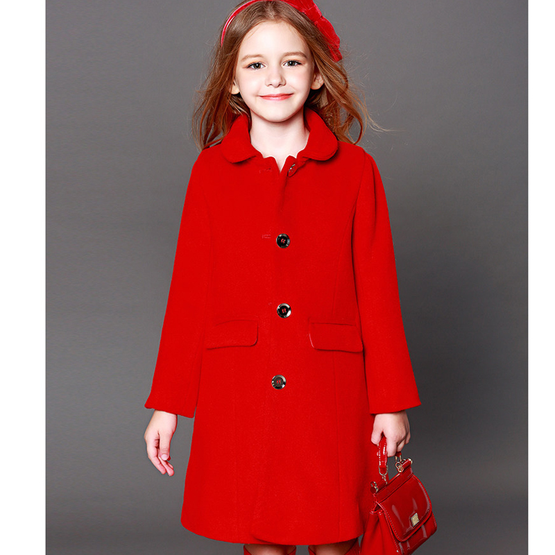 Girls coat 2018 fall & winter new large children's children in long wool coat Europe and the United States coat
