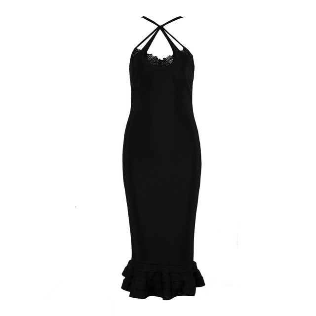 New Black Bandage Dress Women Sexy Sleeveless Celebrity Mermaid Dresses Knee Length Club Vestidos Evening Party Dress