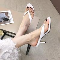 Women's shoes 2019 summer new pin toe slippers female round head sexy stiletto heels fashion flip flops kittens with shoes