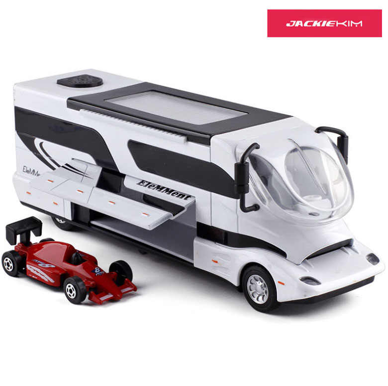 1:32 Die-cast Metal Car Model Vehicle Kaiwei 1619 Alloy Assemble Touring Bus RV Camper With Mini Car Toy Children Toys