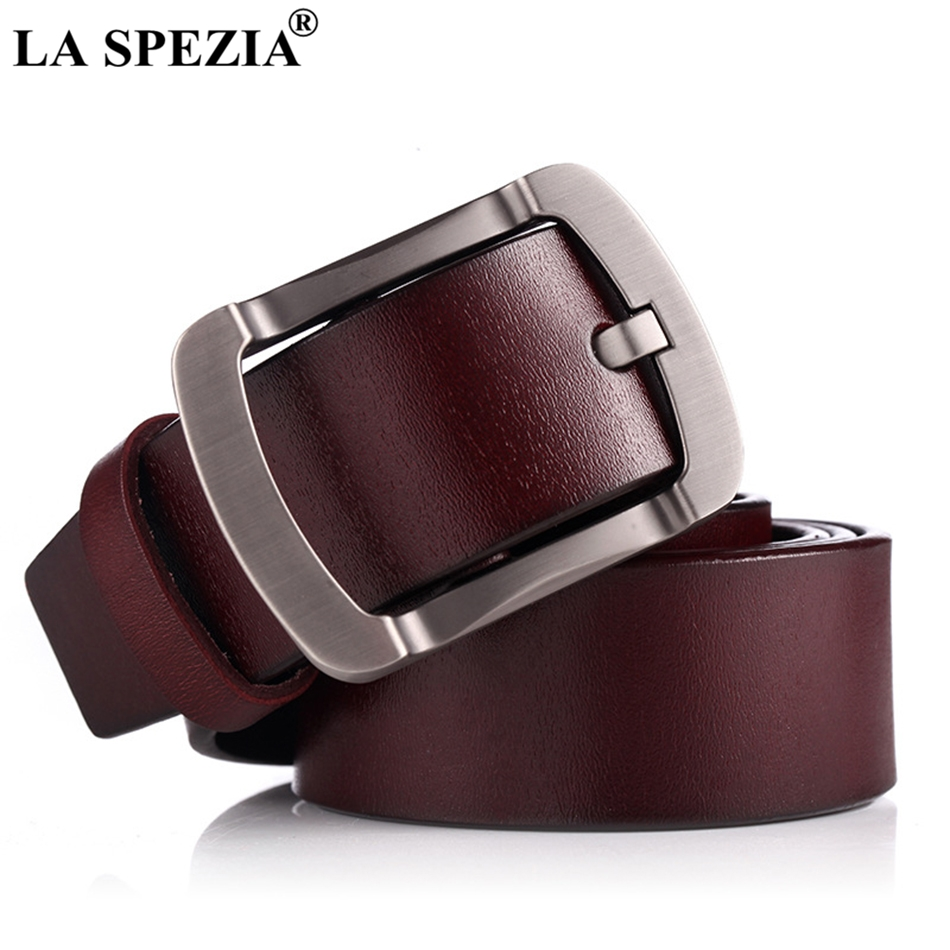 LA SPEZIA Men Leather Belt Genuine Cowskin Burgundy Pin Buckle Belt Vintage Fashion Designer Brand Real Leather Male Jeans Belt