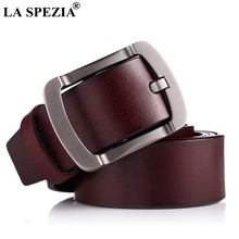 LA SPEZIA Men Leather Belt Genuine Cowskin Burgundy Pin Buckle Belt Vintage Fashion Designer Brand Real Leather Male Jeans Belt цена и фото