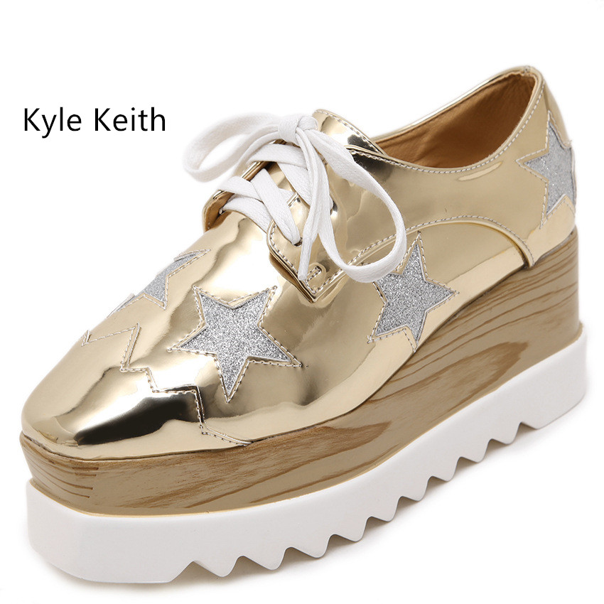 Kyle Keith Fashion Stars Woman Flat Platform Loafers Flats Shoes Ladies Casual Lace Up Shoes Women Creepers Footwear phyanic 2017 gladiator sandals gold silver shoes woman summer platform wedges glitters creepers casual women shoes phy3323
