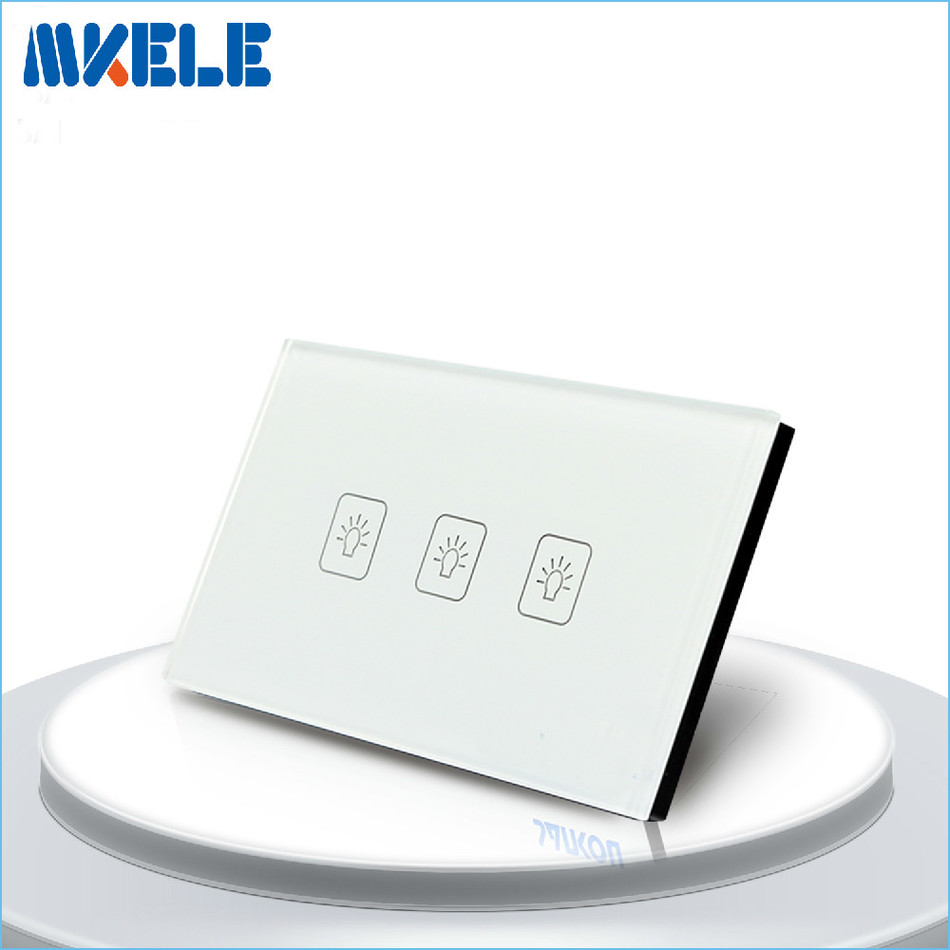 Touch Switch White Crystal Glass panel US Standard 3 Gang 2 Way Touch Screen wall switch wall socket for lamp us standard touch switch 2 gang 1 way white crystal glass panel light switch touch screen wall switch wall socket for lamp