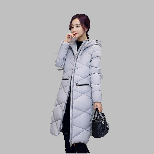 2016 Kış Kadın Coat Kore Uzun Aşağı Kapüşonlu ceket Kalın Sıcak İnce Yastıklı ceket Moda Rahat Büyük boy Pamuk jacketAB42