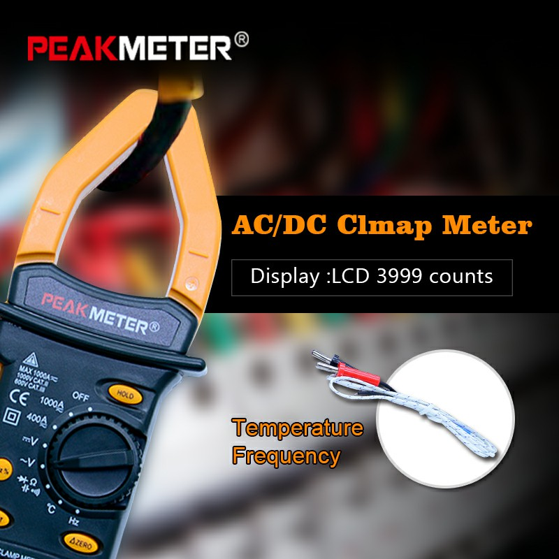 PEAKMETER MS2101 Digital Clamp Meter AC DC Auto range temperature meter Buzzer Data Hold Non-contact Multimeter LCD 3999 counts цены