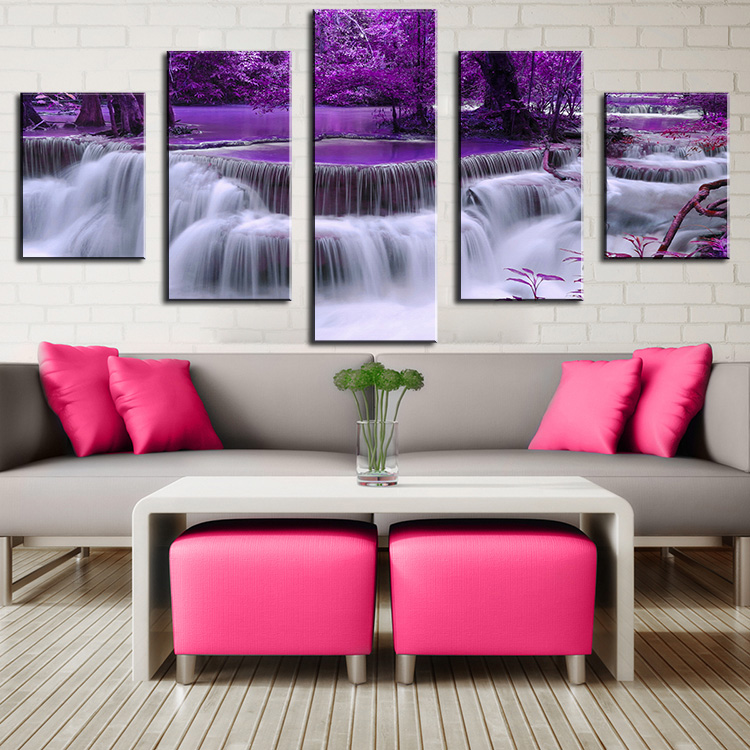 Purple Home Decor: No Frame 5 Pieces Purple Waterfall Oil Painting Printed