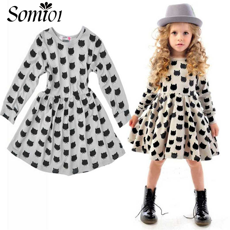 Winter Autumn Spring Girl Dress Animal Print Kids Clothes 2017 Fashion Long Sleeve Cotton Toddler Girls Casual Children Clothing fashion brand autumn children girl clothes toddler girl clothing sets cute cat long sleeve tshirt and overalls kid girl clothes