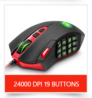 Redragon USB wired RGB Gaming Mouse 24000DPI 10 buttons laser programmable game mice LED backlight ergonomic for laptop computer 5