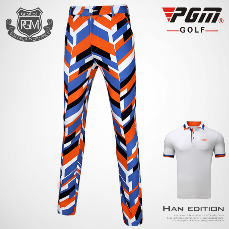 2018 New! PGM Golf Apparel Men Pants Suit Sportswear Spring Summer Mens Printing 86% Polyester and 14% Spandex Ball Pants Shirt