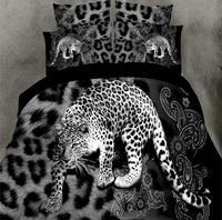 4pcs 3D bed set Home textile Bedding sets animal Soft cotton Leopard wolf tiger lion Duvet cover Bed sheet pillowcase bed linen