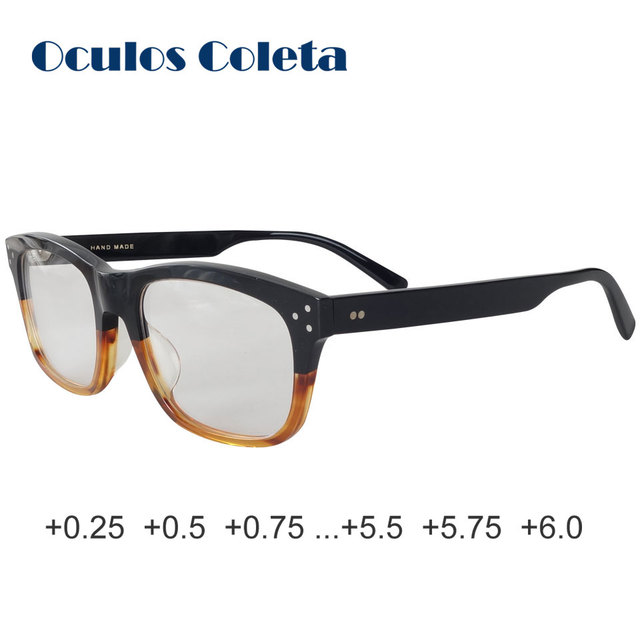 Oversized reading glasses for women and men top quality acetate frame Italy design artificial stripe retro style 25 50 125 150