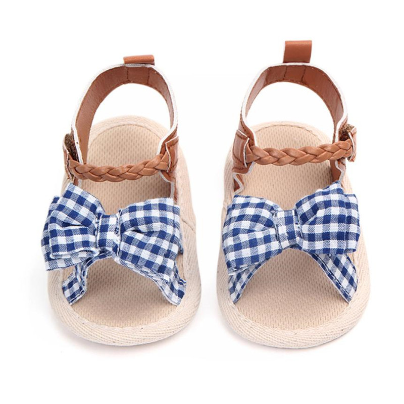 ARLONEET Baby Casual Shoes Fashion Plaid Bow Soft Anti-slip Princess Shoes Newborn Walking Shoe Drop Shipping Wholesale 30S65