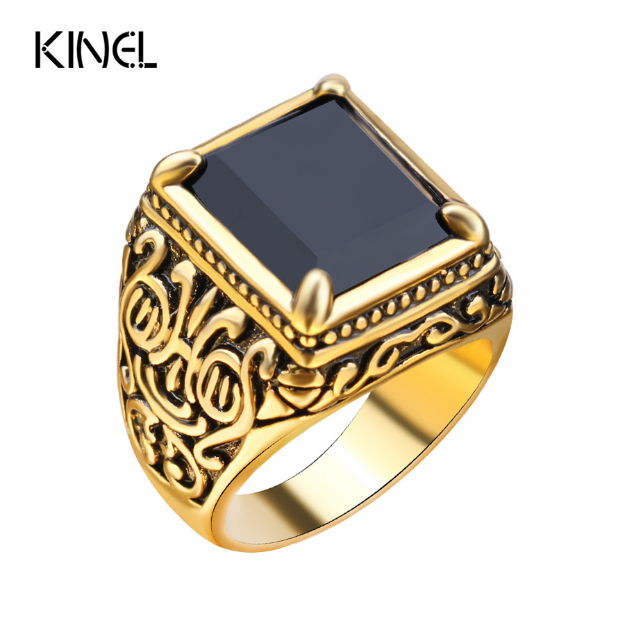 retro black ring classic medieval style punk gilded mens rings free shipping new ly brand - Medieval Wedding Rings