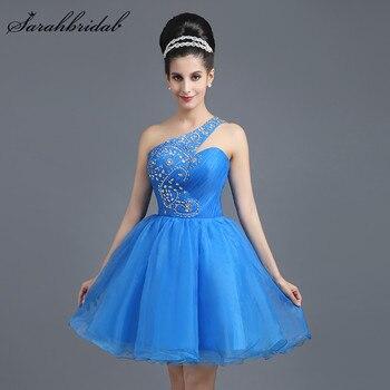 813459e4765f0 Seksi Bir Omuz A-Line Kristal Mezuniyet Elbiseleri Tül Kolsuz Homecoming  Yeni Geliş Sky Mavi Kısa Balo Mini Önlük SD262