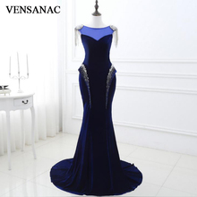 цена VENSANAC New A Line 2017 Crystals O Neck Long Evening Dresses Sleeveless Luxury Sequined Sweep Train Party Prom Gowns