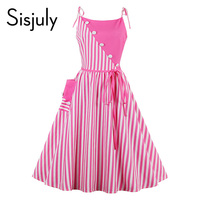 Sisjuly 1950s Striped Vintage Women Dress Sleeveless Knee Length Aline Pink Sexy Summer Office Work Dress New arrival