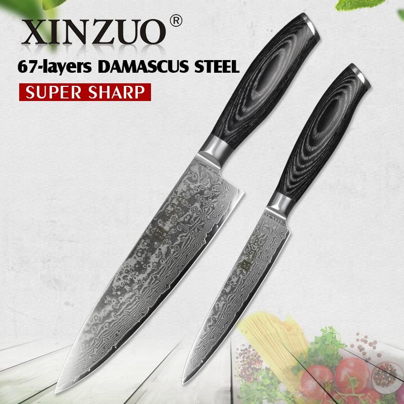 XINZUO 2 հատ Խոհանոցային դանակներ 67 հատ շերտ Դամասկոսի բարձր ածխածնի 8 '' Chef & 5 '' Կոմունալ դանակ չժանգոտվող պողպատից `Pakkawood բռնակով