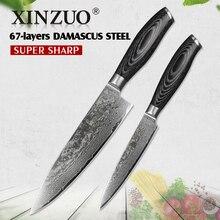 XINZUO 2 stücke küchenmesser set 67 schichten Damaskus 8 zoll koch und 5 universalmesser hoher carbon-edelstahl pakkaholz griff