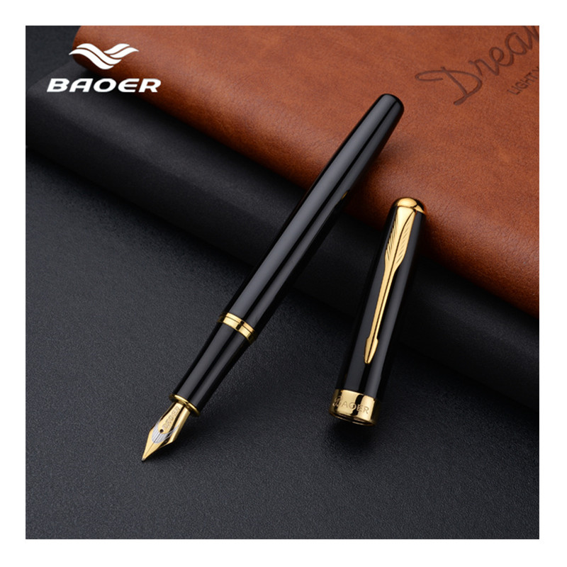 Baoer Fountain Pen New Fashion Black Luxury Ink High Quality Metal Golden Clip Pens Office gift calligraphy fountain pens