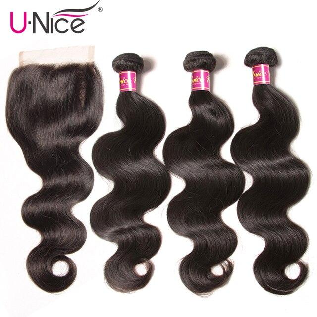 """UNICE Cheveux Brésiliens Corps Vague Vierge Cheveux Bundles Avec Fermeture 4 pcs de Cheveux Humains Bundles Avec Fermeture 8-26 """"vierge Extension de Cheveux"""
