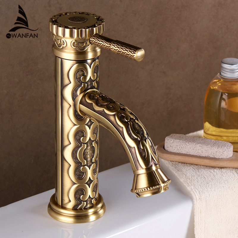 Basin Faucets Solid Brass Vintage Antique Bathroom Faucet Single Handle European Hot And Cold