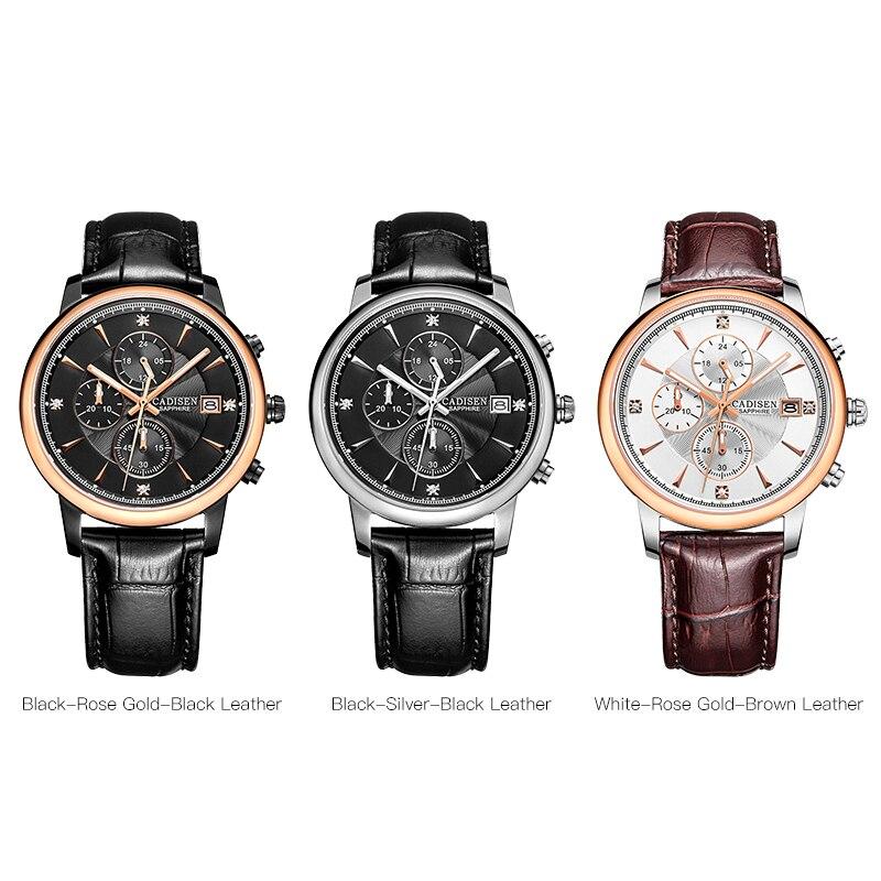 CADISEN Men Watch Top Brand Luxury Chronograph Casual Quartz Sport Wristwatch Mens Waterproof Watches Relogio Masculino 2018 in Quartz Watches from Watches