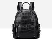 Cow skin leather crocodile pattern rivet backpack women casual bag