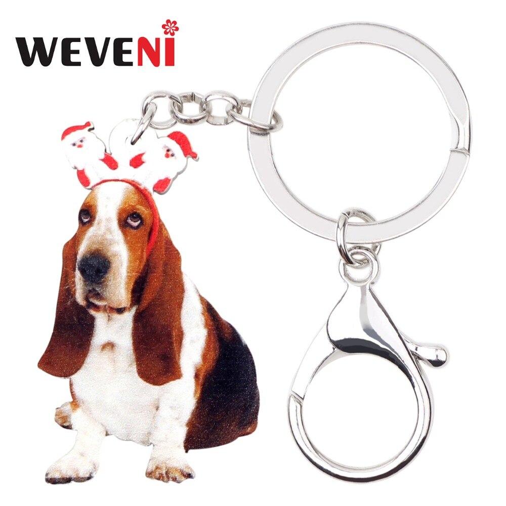 WEVENI acrílico lindo Navidad Santa Basset Hound perro llaveros llavero bolsa titular encantos joyería para mujeres niñas regalo barato