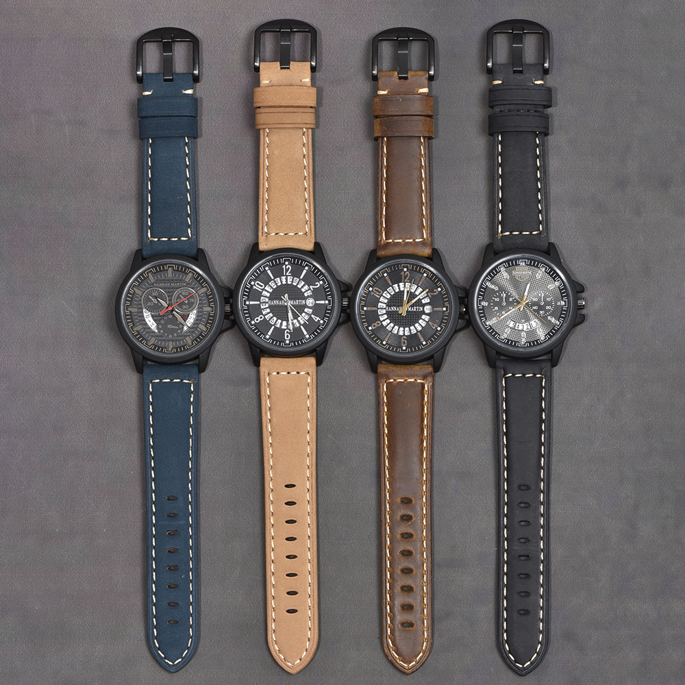 Image 5 - Beafity Crazy Horse Calfskin correa de reloj de cuero 20mm 22mm 24mm correas de reloj marrón claro Negro Azul verde cinturónCorreas de reloj   -