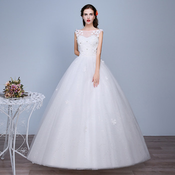 Wedding Dress Lace Up Back Ball Gowns O-Neck Sleeveless Crystal White Formal Bridal Frocks Elegant Bride Dress Porte Nom Mariage