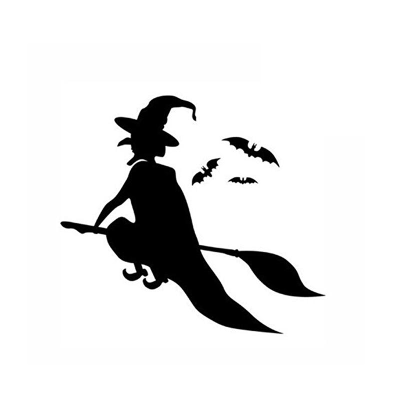 simple wizard witch flying and bats wall decals window stickers halloween decorations - Halloween Window Decals