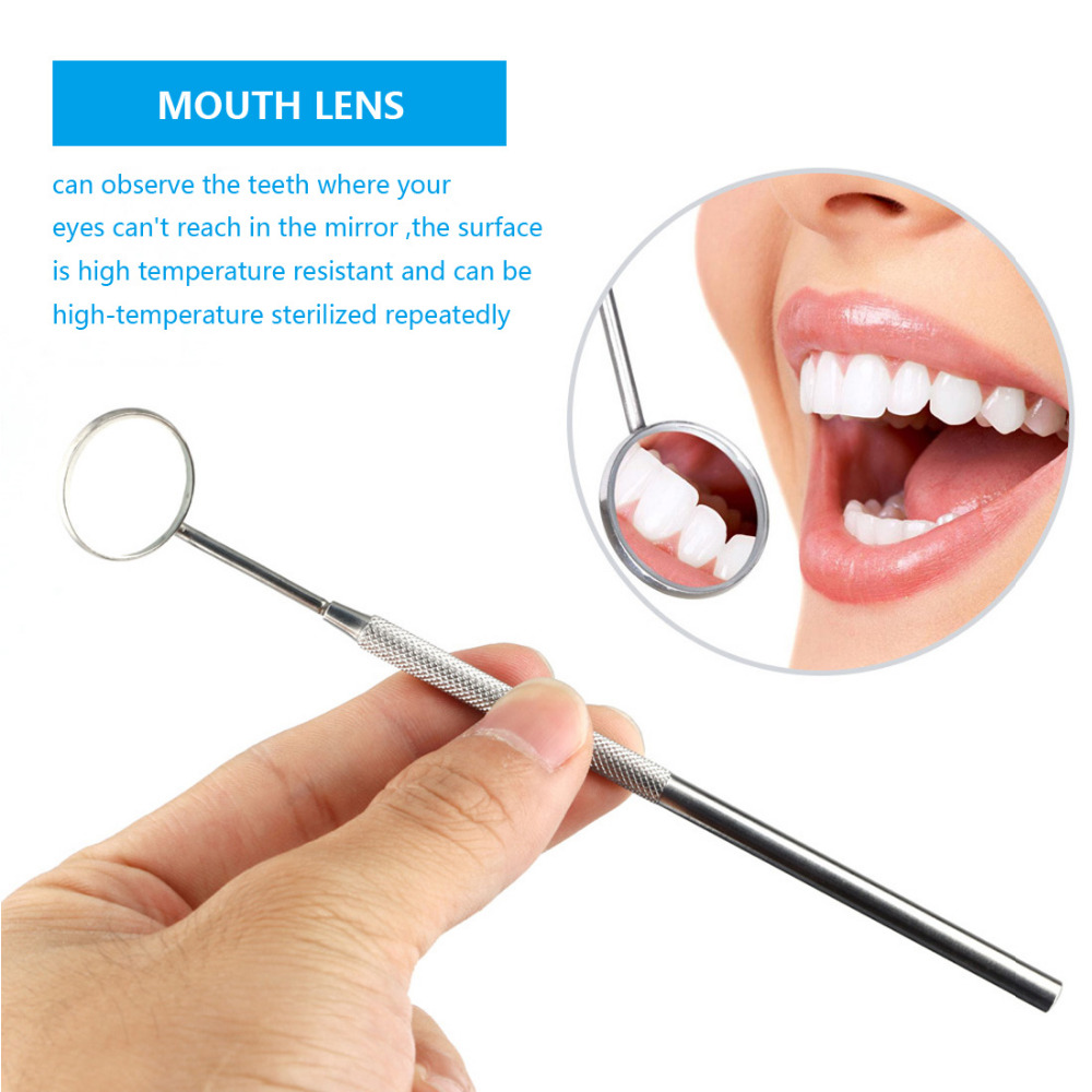 Mini Stainless Steel Handle Dental Mirror Tool Instrument Auto Dentist Oral For Teeth Cleaning Inspection Detachable Mirror Head