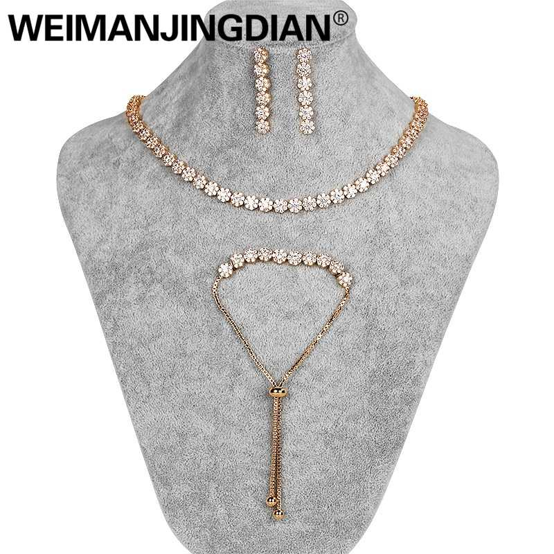 WEIMANJINGDIAN Brand Small Flower Design Clear Cubic Zirconia Tennis Collar Necklace Earring and Bracelets Wedding Jewelry Set