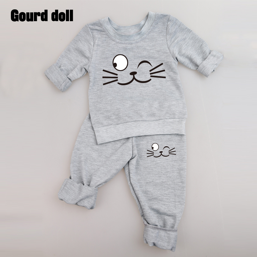 3color Baby Clothing Sets Spring Autumn Baby Boys girls Clothes Long Sleeve T-shirt+Pants 2Pcs Suits Cat Children Clothing bear leader baby boys girls sets 2017 autumn baby clothing sets house applique sweatshirt striped pants 2pcs for baby clothes
