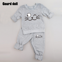 3color Baby Clothing Sets Spring Autumn Baby Boys girls Clothes Long Sleeve T-shirt+Pants 2Pcs Suits Cat Children Clothing