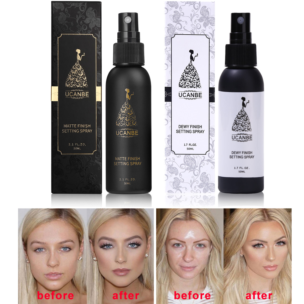 UCANBE Makeup Setting Spray Dewy or Matte Finish Face Mist Long Lasting Foundation Protector Oil-control Base Cosmetics Fixer image