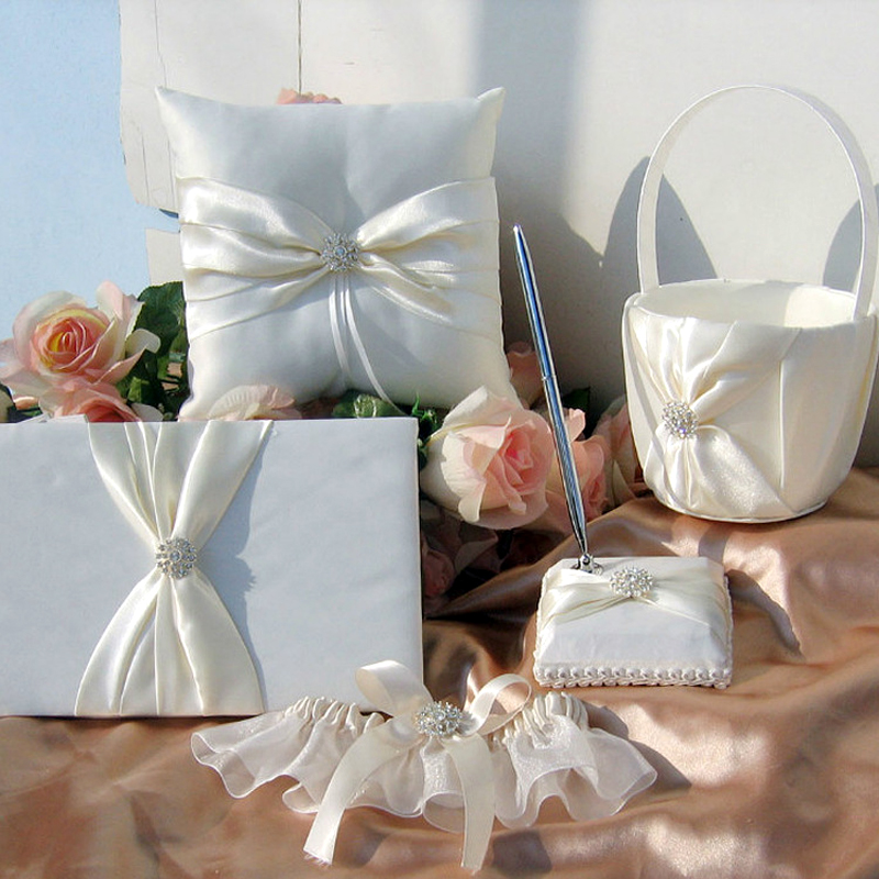 5Pcs/set Ivory Wedding Decoration Bridal Satin Ring Pillow+Flower  Basket+Guest Book