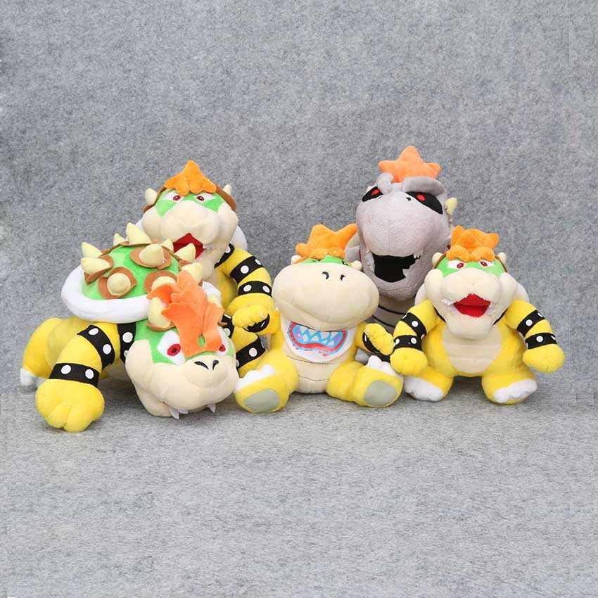 5 pçs/set Bros Super Mario Land 3D dragão Osso de Pelúcia Bowser Koopa BB Terra Osso Kuba Dry Bones Stuffed Plush Toys Crianças Presentes