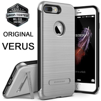 VERUS originais Para O iPhone Da Apple 7/7 Plus Caso Prémio Metal escovado Rígido de Volta de Proteção Híbrido Rugged Kickstand Tampa Do PC casos