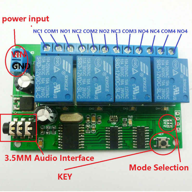 AD22B04 DC 12V 4ch MT8870 DTMF Tone Signal Decoder Phone Voice Remote  Control Relay Switch Module for LED Motor PLC Smart Home